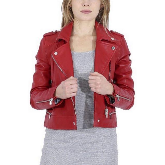 544d9165238 OAKWOOD - Perfecto YOKO ROUGE - XL - pas cher Achat   Vente Blouson femme -  RueDuCommerce