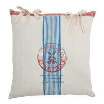 Comptoir De Famille - Coussin carré en coton motif rayures et moulin blanc/bleu/rouge 45x45cm Minotier