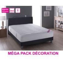 Relaxima - Méga Pack Deco : Tete De Lit + Matelas Salvador Mousse Dunlopillo + Sommier _ plusieurs coloris et dimensions
