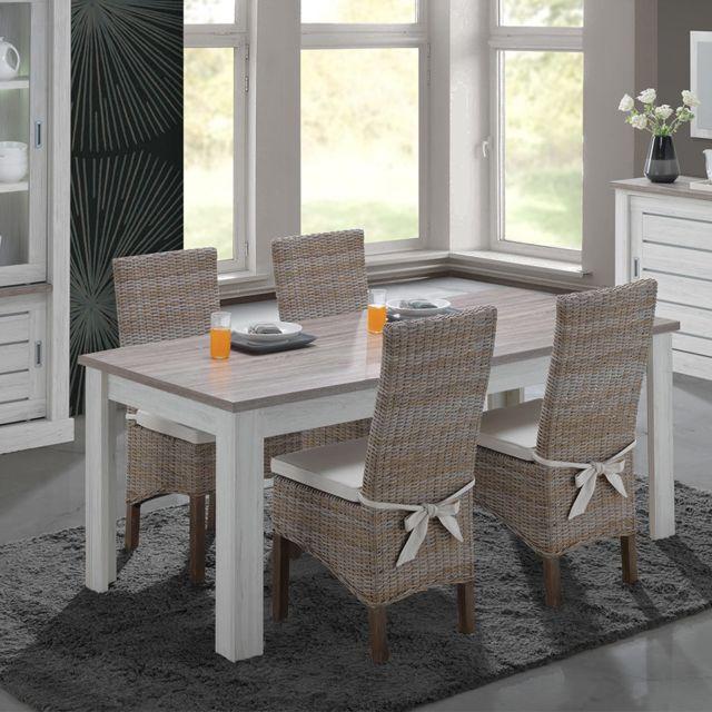 Nouvomeuble Table 190 cm couleur chêne clair et marron Elana