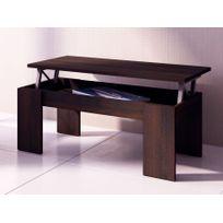 vente unique table basse carmela plateau relevable bois mdf coloris