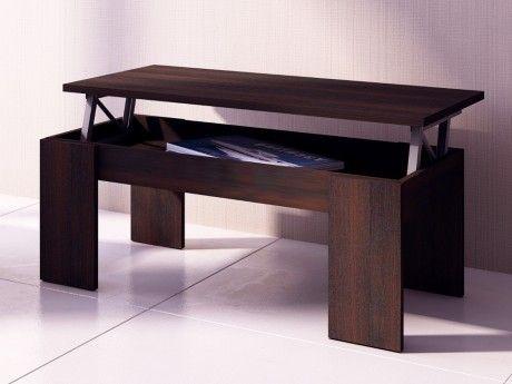 Vente-unique Table basse Carmela - Plateau relevable - Bois & Mdf - Coloris wengé