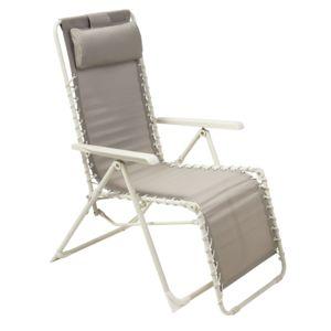 carrefour fauteuil relax multiposition taupe pas cher achat vente fauteuil de jardin. Black Bedroom Furniture Sets. Home Design Ideas
