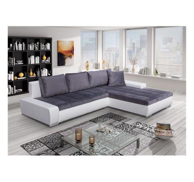 CHLOE DESIGN Canapé d'angle convertible ORAVA - Angle droit - blanc et gris