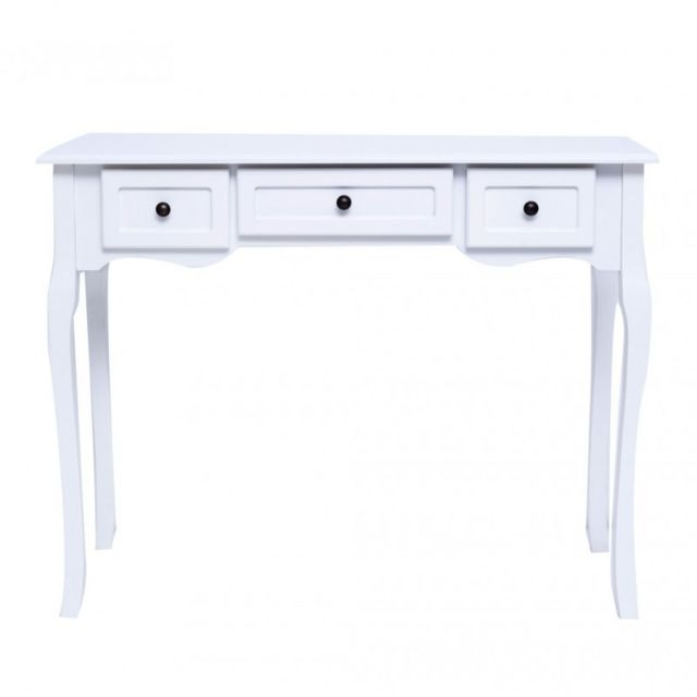 Mobili Rebecca Table Bureau Coiffeuse 3 Tiroir Bois Blanc Francais Provencal Chambre Salon Bain