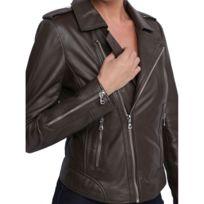Veste cuir femme oakwood noir