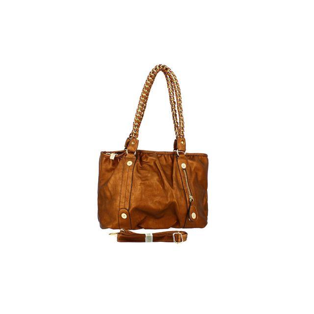 vendu dans le monde entier texture nette achats Langrand - Sac à main bronze à anses chaine dorée - Tu ...