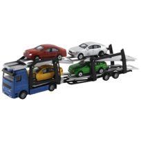 John World - Transport véhicules bleu + 4 voitures