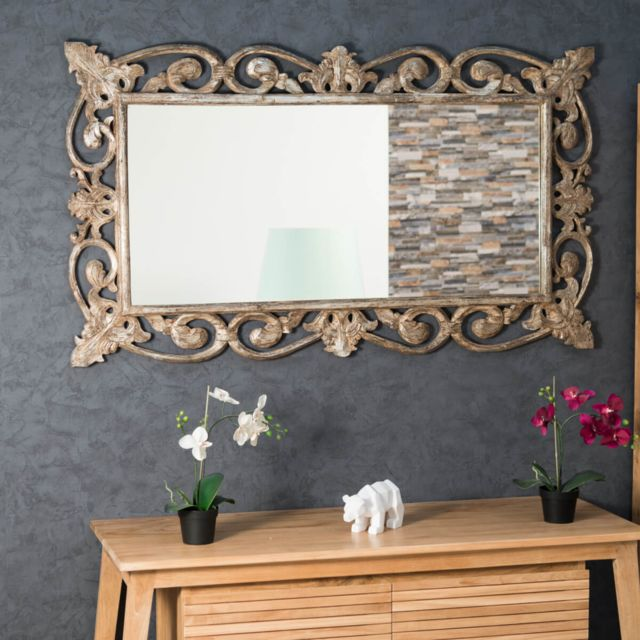 Wanda Collection Miroir Cordoue en bois patiné bronze 140x80
