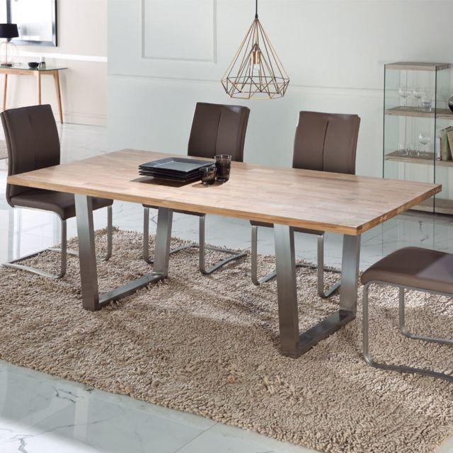 Nouvomeuble Table à manger industrielle en chêne et acier Gari