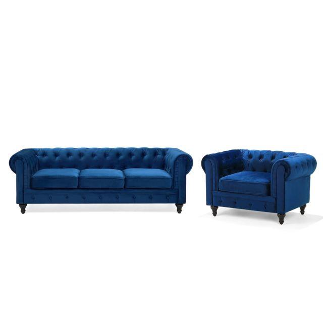 BELIANI Ensemble canapé et fauteuil bleu cobalt CHESTERFIELD