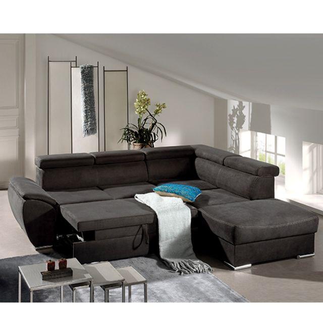 SOFAMOBILI Canapé d'angle convertible noir en tissu ALFA