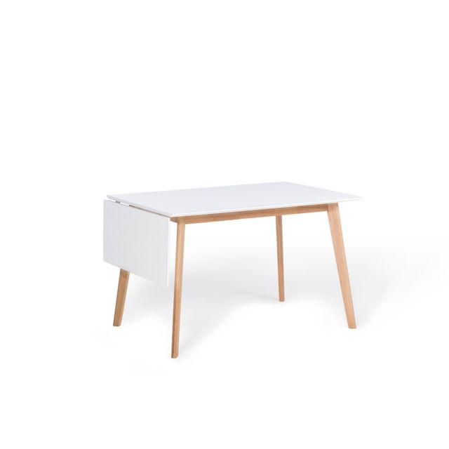 BELIANI Table de salle à manger 120x80 cm blanche MEDIO - marron