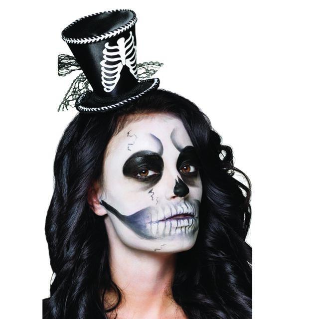 Sans - Mini chapeau haut de forme squelette femme Halloween - taille - Taille  Unique - 733f0f745c5