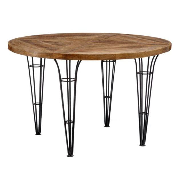 Tousmesmeubles Table de repas ronde Bois/Métal - Midelt