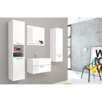 Ensemble meubles de salle bain laqué blanc Adel + 1 vasque + 1 miroir