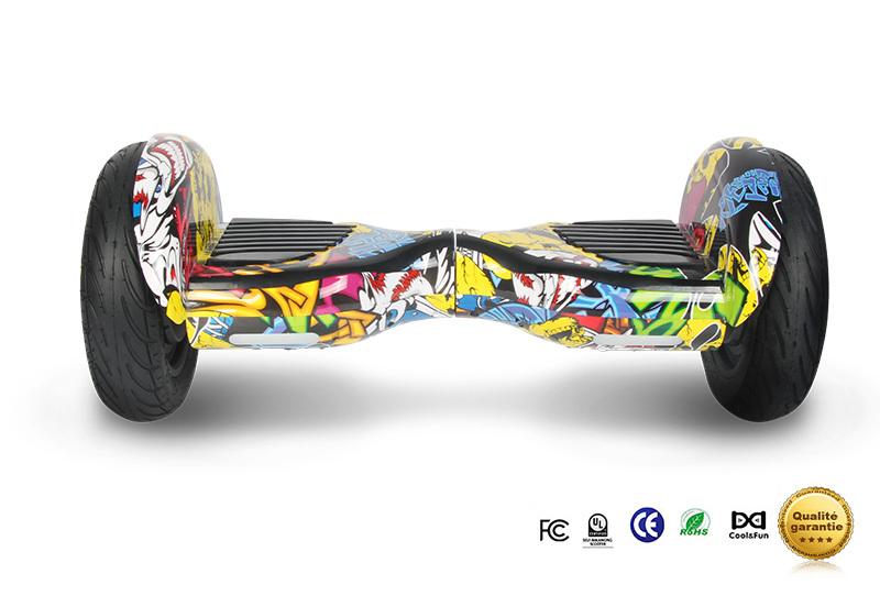 COOL&FUN Hoverboard Bluetooth Tout terrain, gyropode 10 pouces modèle HORSEBOARD hip-hop design