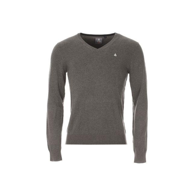 Gaastra - Pull col V Welsh en coton gris à coudières bleu marine - pas cher  Achat   Vente Pull homme - RueDuCommerce d88076ca3cff