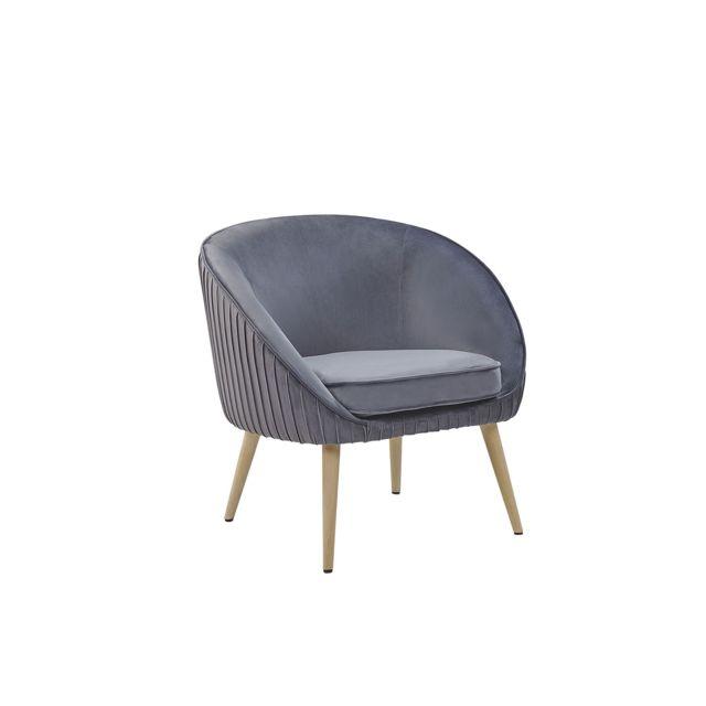 BELIANI Fauteuil design en velours gris TROMSO