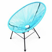 ALICE'S GARDEN - Fauteuil design Oeuf - Acapulco Turquoise - Fauteuil design cordage PVC