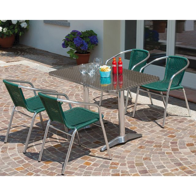 Table jardin en aluminium avec plateau en acier coloris alu- A USAGE  PROFESSIONNEL- Dim : H 70 x L 110 x P 70 cm