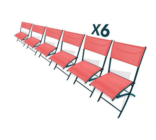 Dcb Garden Lot de 6 chaises pliantes corail