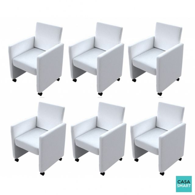 Casasmart Lot 6 fauteuils à roulettes Talak blanc
