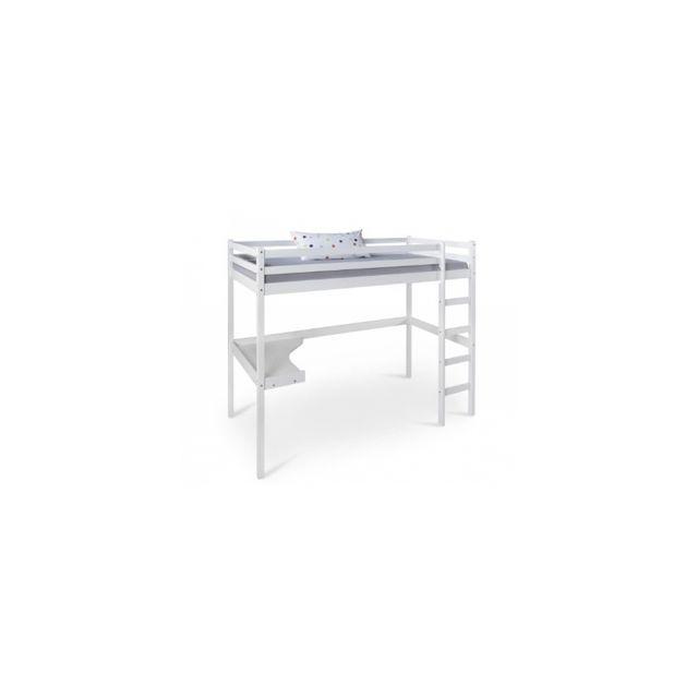 Homestyle4U Lit mezzanine avec bureau pour enfant 90x200 cm blanc bois de pin