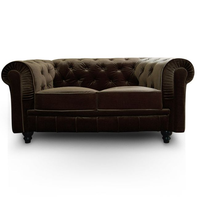 Canapé Chesterfield Velours 2 Places Altesse Marron