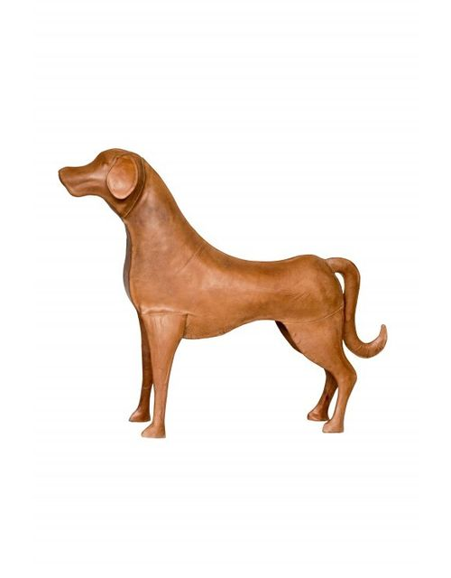 Decoshop Statuette figurine chien en cuir 67 cm