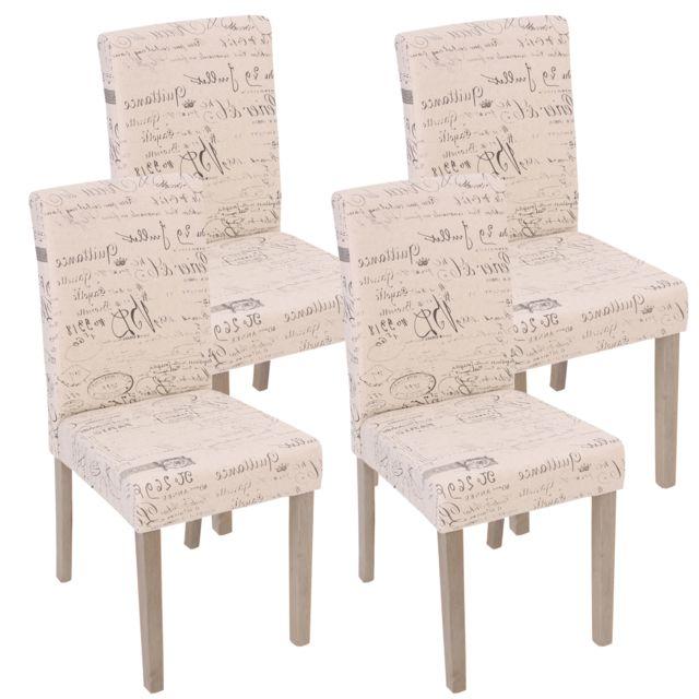 4x Chaise De Sejour Littau Fauteuil Tissu Avec Ecriture Creme Pieds Couleur Chaine