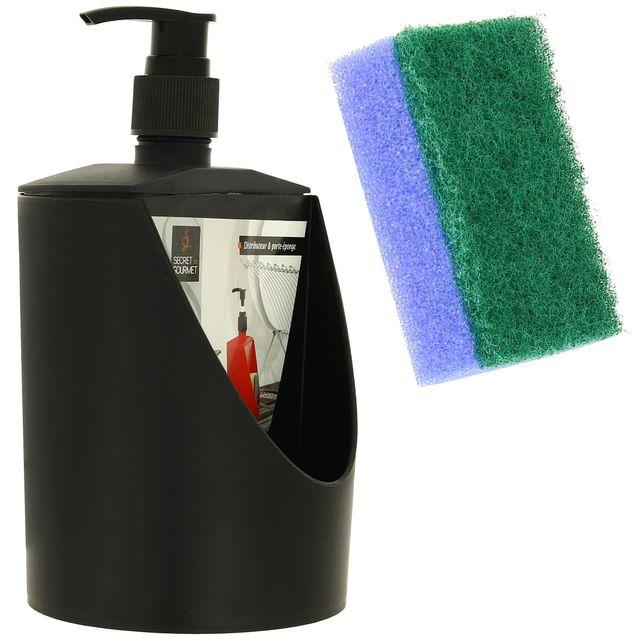 promobo distributeur de savon porte ponge vaisselle cuisine noir pas cher achat vente. Black Bedroom Furniture Sets. Home Design Ideas