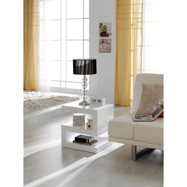 Ma Maison Mes Tendances Table basse 3 niveaux en bois laqué blanc brillant Selena - L 50 x l 40 x H 50