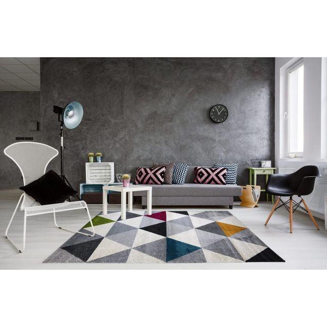 ALLOTAPIS - Tapis géométrique style scandinave multicolore pour salon Gomi