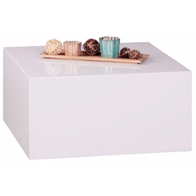 Comforium Table basse cubique coloris blanc laqué en bois mdf 60 cm