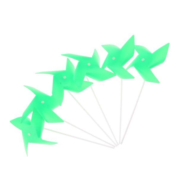 100pcs 3d fleur moulin à vent auto-assemblage décor de jardin enfant en plein air jouet vert