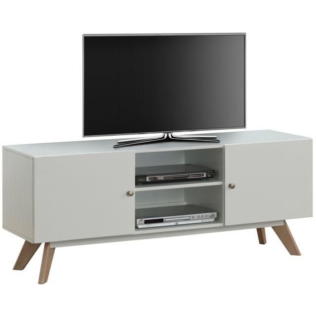 COMFORIUM - Meuble TV 150 cm à 2 portes et 2 niches en MDF et bois. Couleur    Blanc 4e3b04aa5915