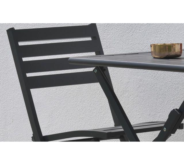 Dcb Garden Lot de 2 chaises pliantes en aluminium gris anthracite