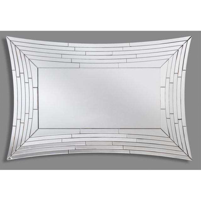 Dekoarte E036 - Miroir moderne mural décoratif avec forme de cadre irrégulière et grande vitre centrale 120x80cm