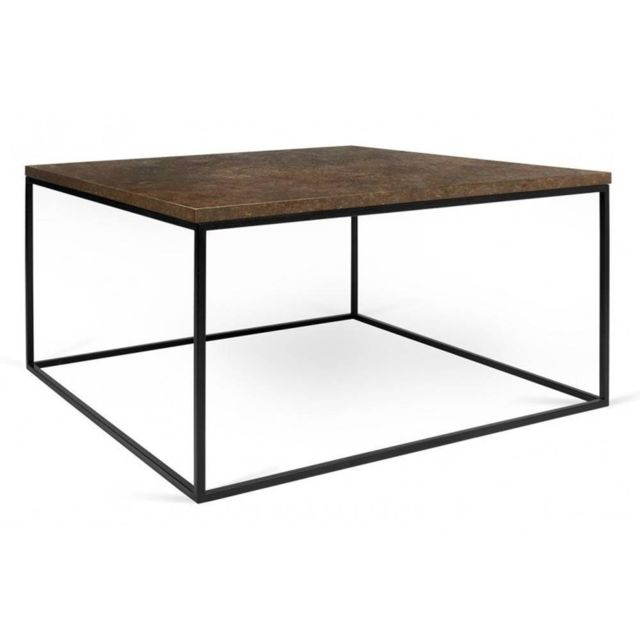 Inside 75 Tema Home Table basse carrée Gleam 50 plateau design rustique structure laquée noir mat