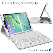 "Karylax - Etui de Protection Blanc Clavier Azerty Français Bluetooth pour Samsung Galaxy Tab S2 9.7"" Sm-t810"