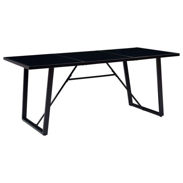 Contemporain Tables serie Athènes Table de salle à manger Noir 200x100x75 cm Verre trempé