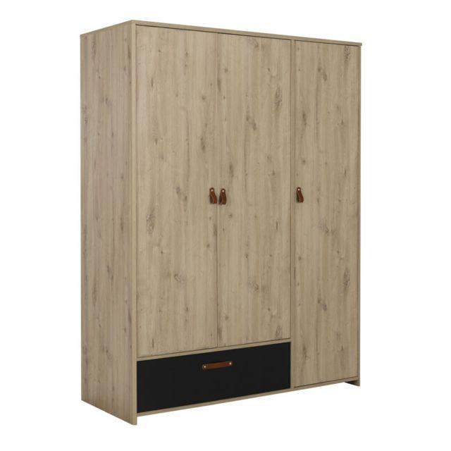Tousmesmeubles Armoire 3 portes 1 tiroir Chêne/Noir - Esther