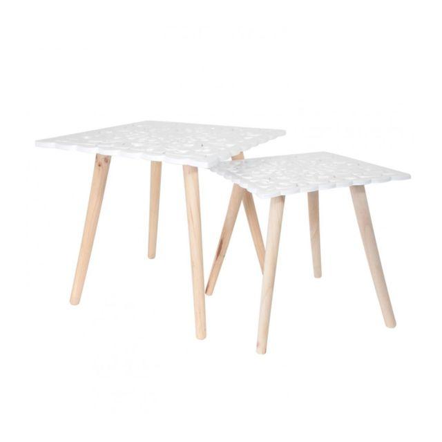 Sans Marque Lot de 2 tables gigognes plateaux carrés arabesque