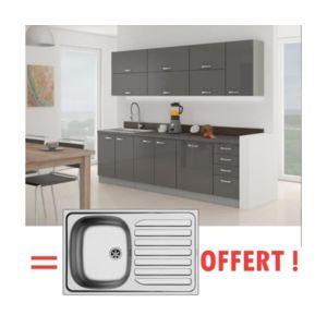 usines discount ewa cuisine complete 2m60 vier offert gris laqu pas cher achat vente. Black Bedroom Furniture Sets. Home Design Ideas
