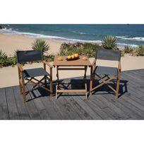 Aucune - Ensemble de table + 2 fauteuils en eucalyptus Fsc et textilene