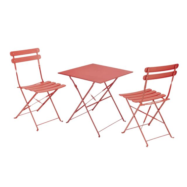 Table Et Chaise Bistrot.Table Bistrot Carree Pliante Corail 2 Chaise Bistrot Pliante Corail