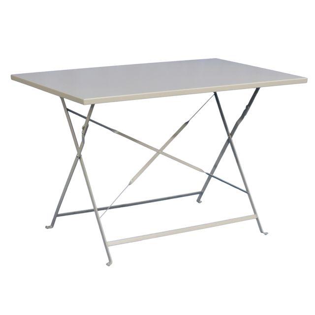 PEGANE - Table de jardin plainte coloris taupe - Dim : 110 x 70 x 71 ...