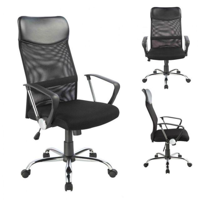 decoshop26 fauteuil chaise de bureau hauteur r glable noir bur09008 pas cher achat vente. Black Bedroom Furniture Sets. Home Design Ideas