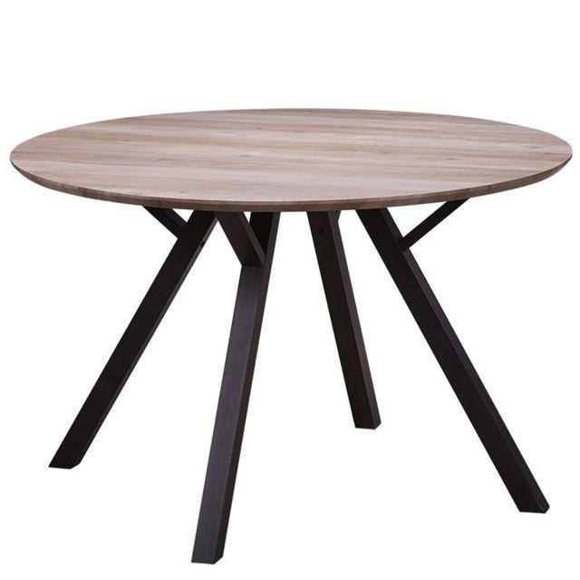 Tousmesmeubles Table de repas Ronde Chêne et pieds Noirs - Alana